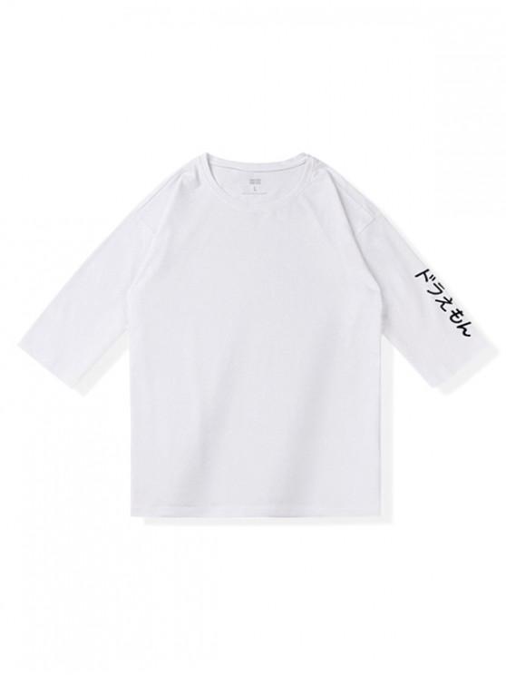 Camiseta de manga corta casual con estampado japonés - Blanco 2XL
