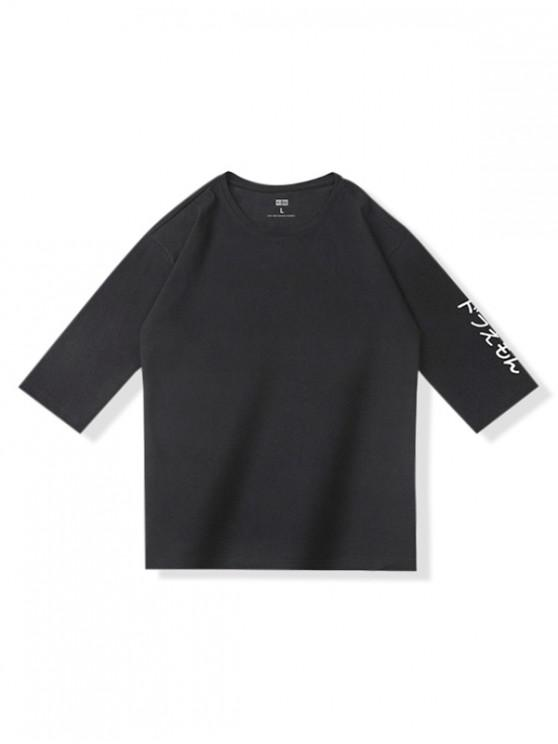 chic Japanese Print Casual Short Sleeves T-shirt - BLACK L