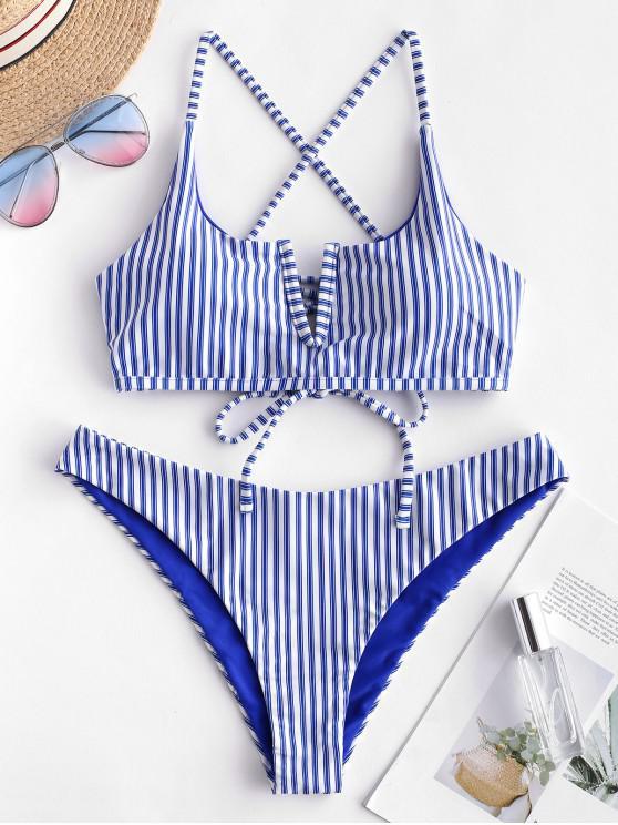 shops ZAFUL V-wired Striped Bikini Set - BLUEBERRY BLUE L