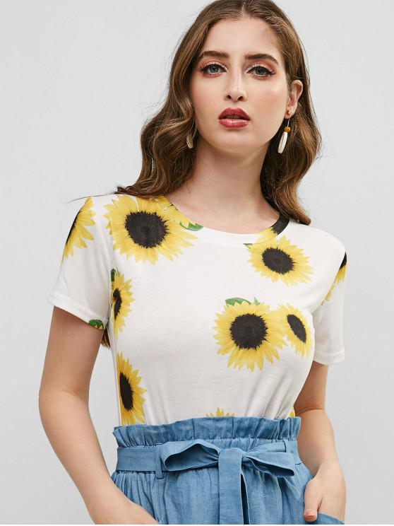 fancy Sunflower Short Sleeve T-shirt - WHITE L
