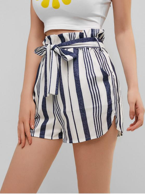 chic Belted Stripes Paperbag Shorts - MULTI-B XL
