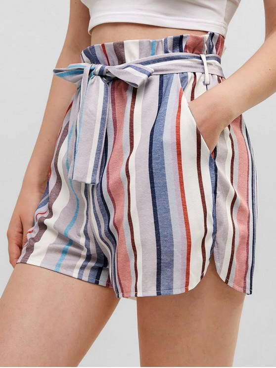 lady Belted Stripes Paperbag Shorts - MULTI-A S