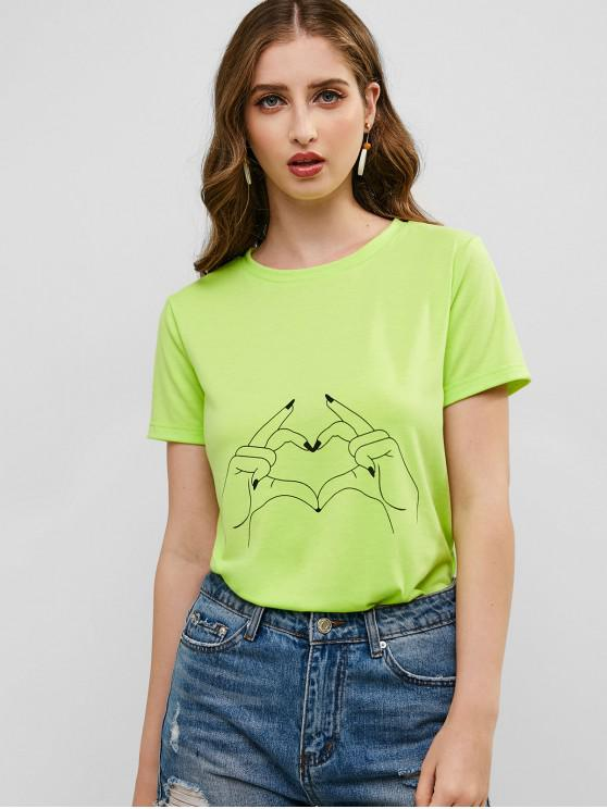 affordable ZAFUL Gesture Graphic Tee - TEA GREEN S