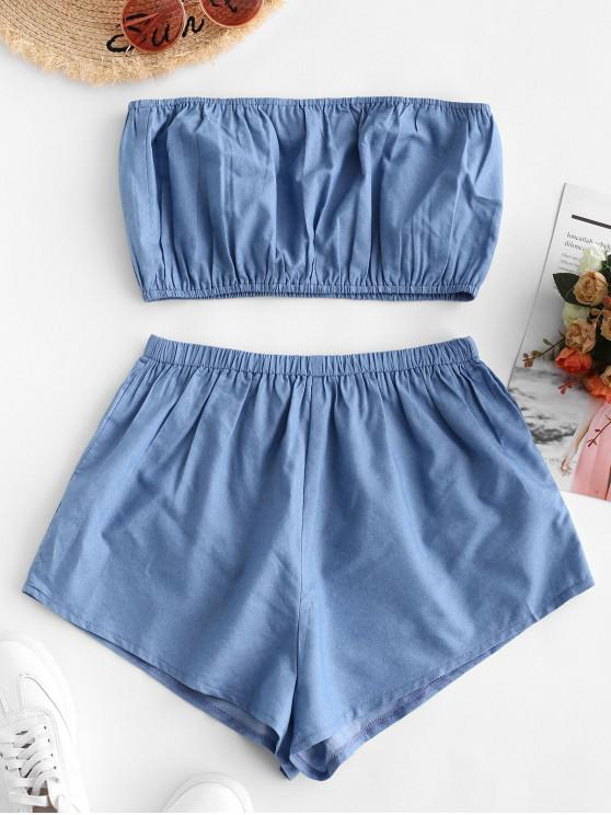 lady ZAFUL Plain Chambray Bandeau Top And Shorts Set - DENIM BLUE L
