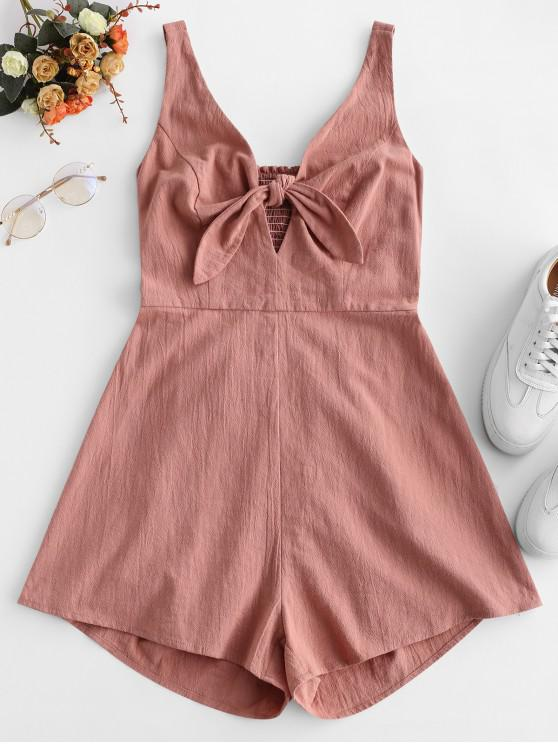 affordable ZAFUL Knotted Cut Out Smocked Sleeveless Romper - ROSE L