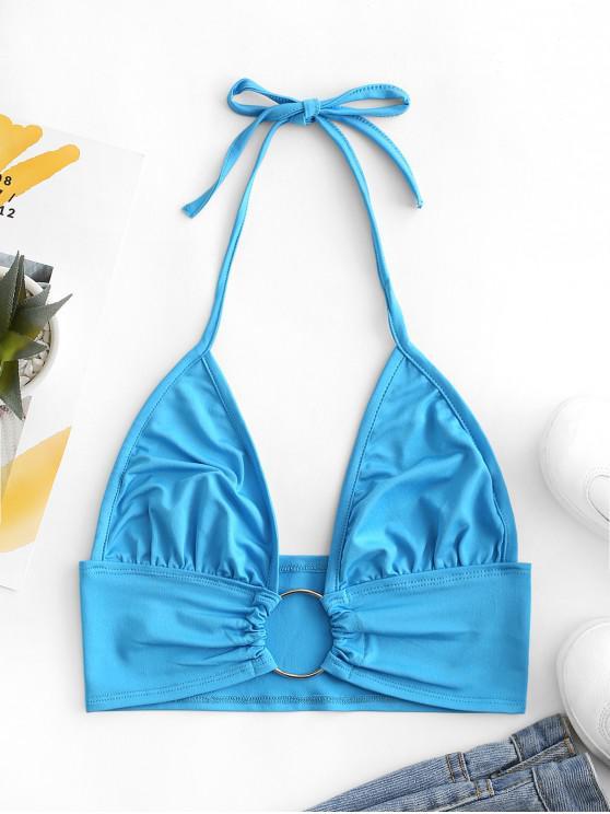 womens Metal Ring Embellished Crop Halter Top - BLUE IVY M