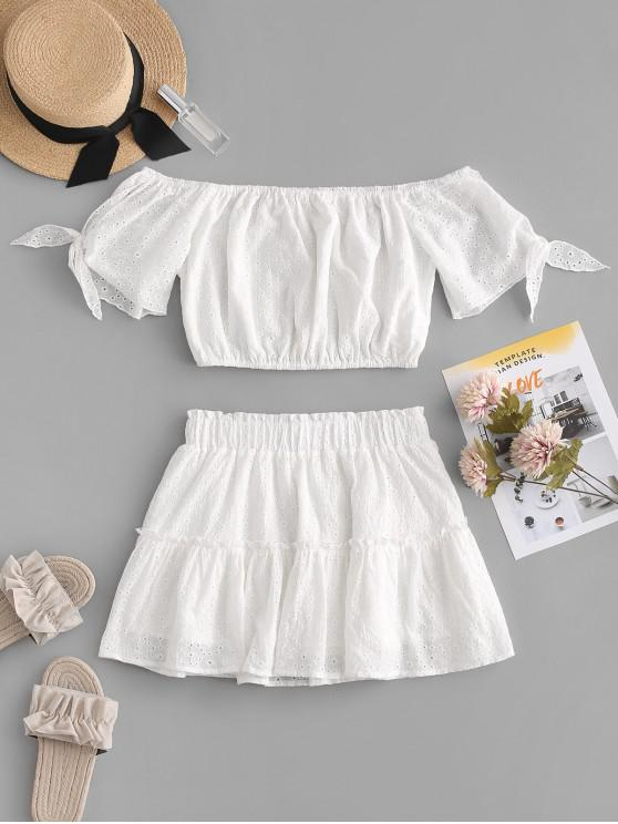chic ZAFUL Broderie Anglaise Tied Crop Blouse and Skirt Set - WHITE L