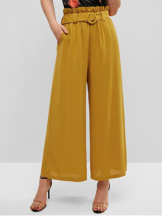 best ZAFUL Belted High Waisted Wide Leg Paperbag Pants - BEE YELLOW S