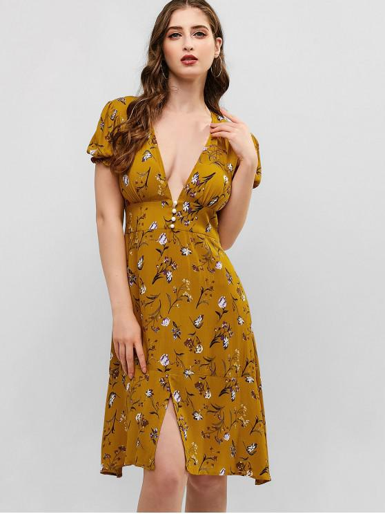 new ZAFUL Half Buttoned Slit Floral Dress - ORANGE GOLD S