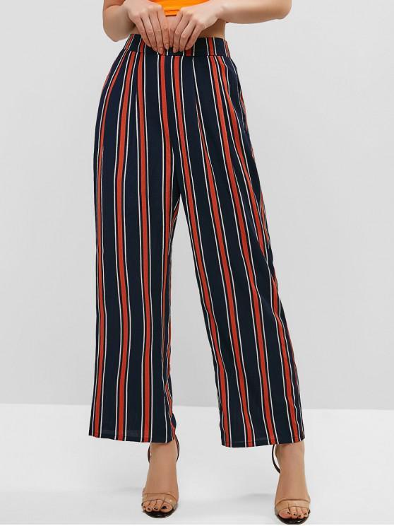 26 Off 2021 Zaful Stripes Pantalones Anchos De Talle Alto En Azul De Medianoche Zaful America Latina