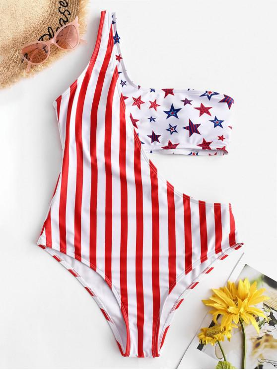 fashion ZAFUL American Flag Cutout One Shoulder One-piece Swimsuit - MULTI-A XL