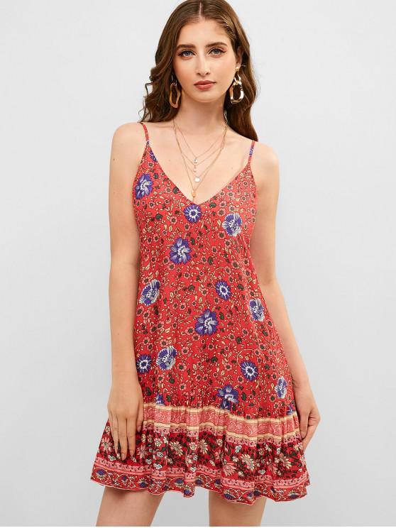 fashion ZAFUL Bohemian Flower Cami Flounce Dress - CHERRY RED L