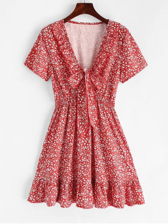 unique Ruffles Knotted Tiny Floral Dress - CHESTNUT RED M