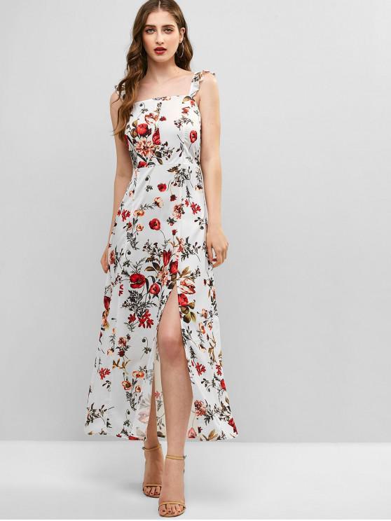 hot ZAFUL Floral Print Smocked Back Slit Dress - MULTI S