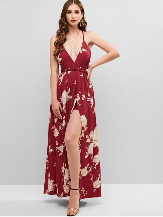 الأزهار التداخل كريسس الصليب فستان ماكسي - أحمر L