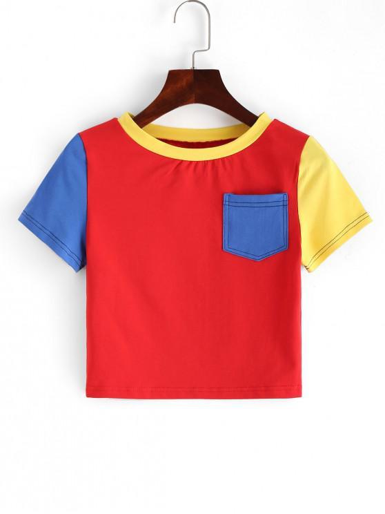 Цветной блок Карман Короткая Футболка - Многоцветный-A M