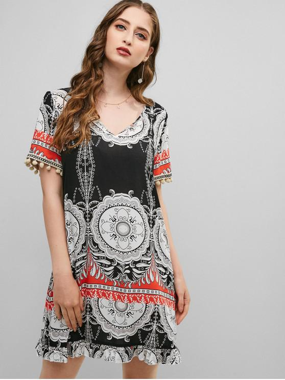 womens ZAFUL Pom-pom Bohemian Printed Shift Dress - BLACK M