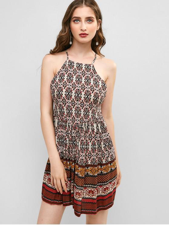 best ZAFUL Floral Backless Lace Up Dress - MULTI-A M