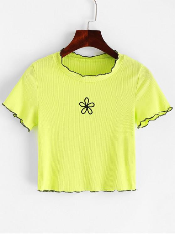 outfit Floral Embroidered Lettuce Trim Neon Tee - GREEN YELLOW S