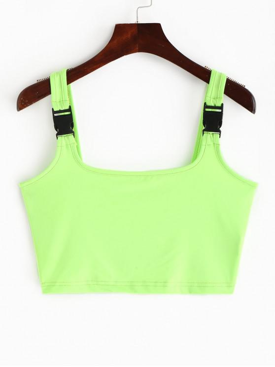 fashion Buckle Straps Neon Crop Tank Top - CHARTREUSE S