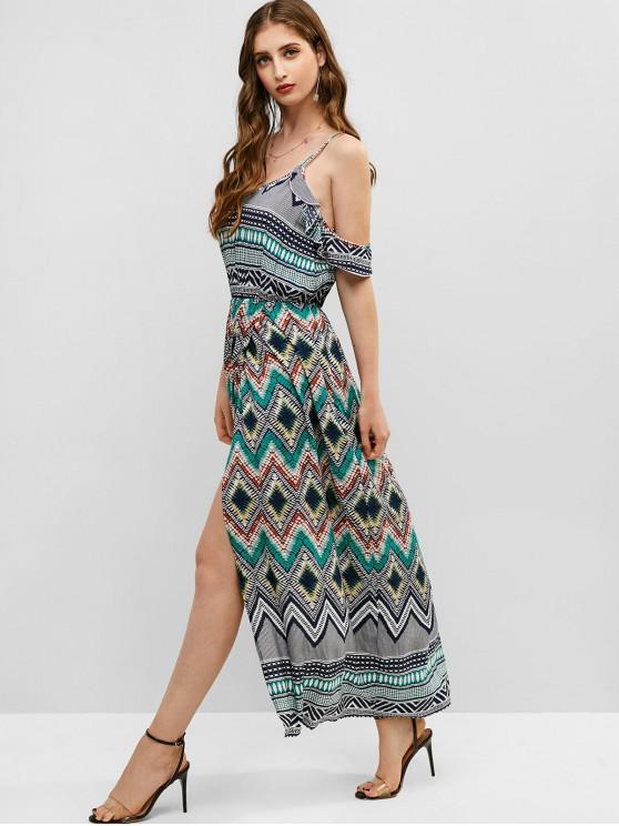 lady ZAFUL Ruffles Geometric Cold Shoulder Maxi Dress - MULTI S
