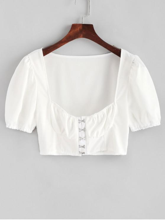 hot Hook and Eye Crop Solid Blouse - WHITE XL