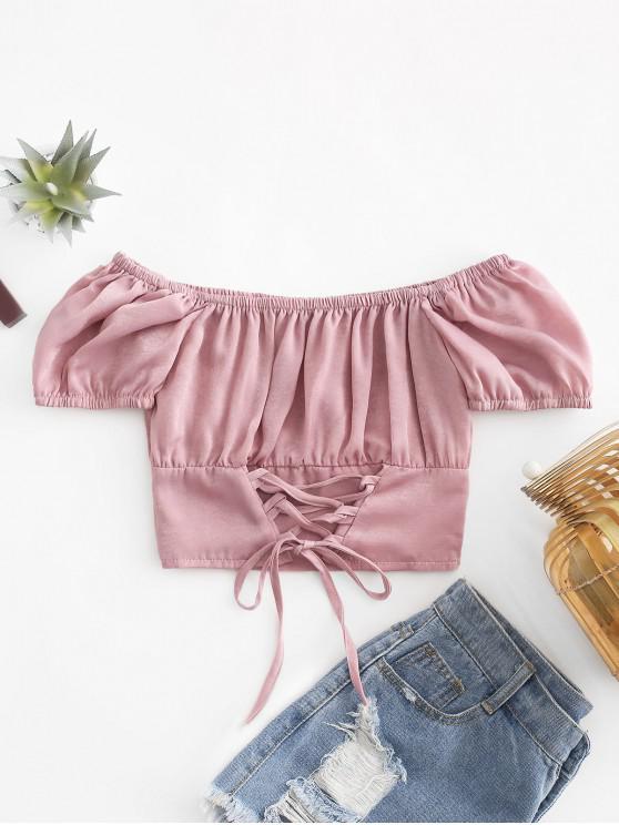 fancy Off Shoulder Lace Up Crop Blouse - KHAKI ROSE M