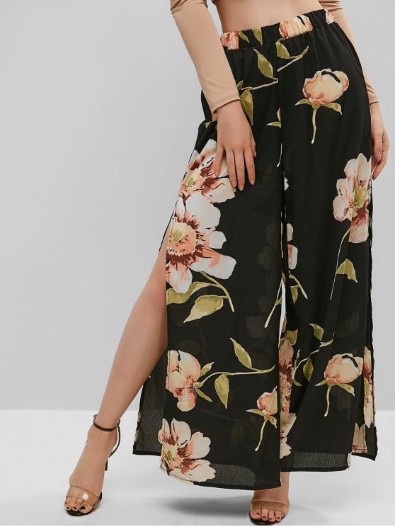 Pantalon Fendu Fleuri Jambe Large à Taille Haute - Noir S