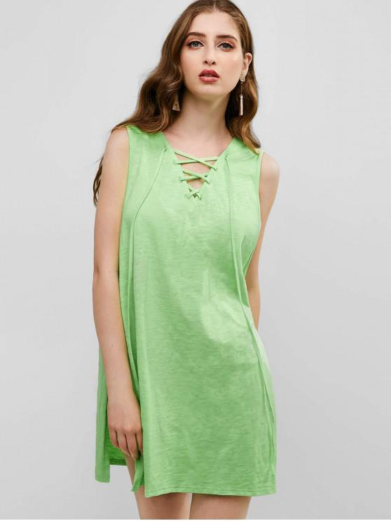 outfits ZAFUL Lace Up Slits Hooded Cover Up - TEA GREEN ONE SIZE