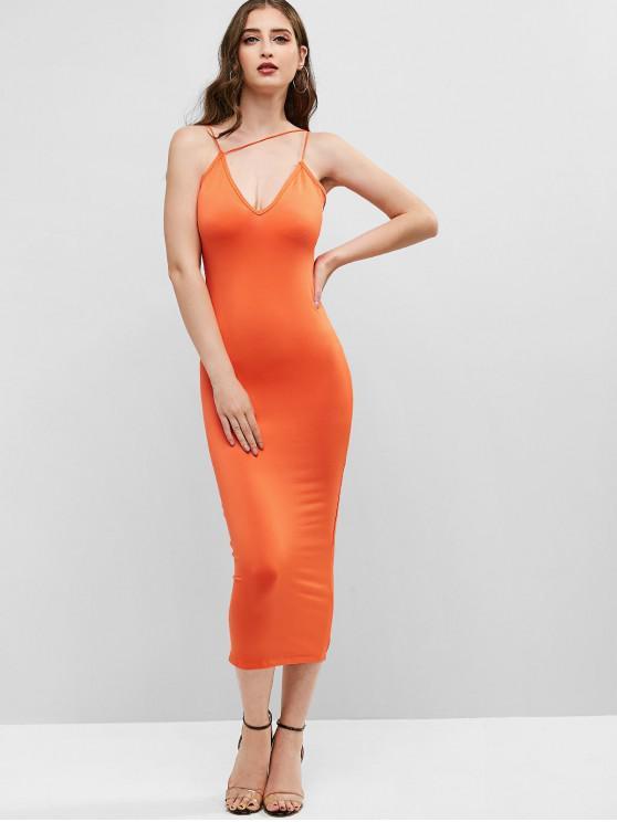 fancy Neon Strappy Bodycon Cami Dress - ORANGE L