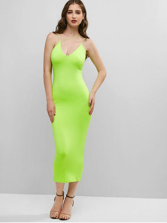 hot Neon Strappy Bodycon Cami Dress - GREEN L