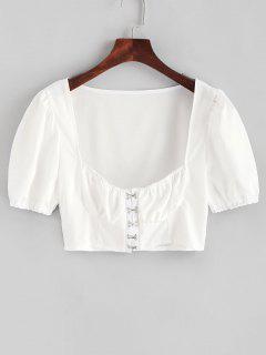 Blouse Courte En Couleur Unie Au Crochet - Blanc S