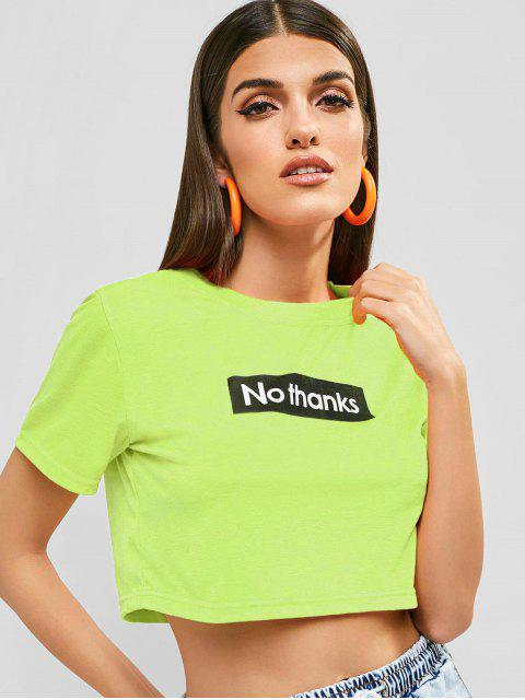 affordable No Thanks Graphic Cropped Tee - TEA GREEN M Mobile