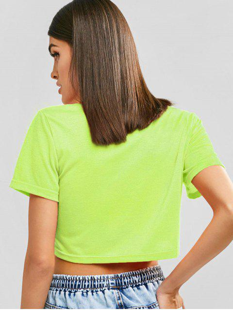 unique No Thanks Graphic Cropped Tee - TEA GREEN XL Mobile