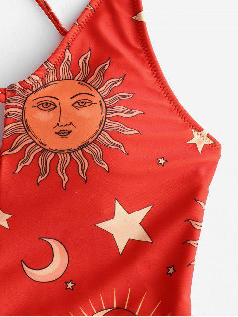 ZAFUL Sun and Moon Criss Cross Peplum Bañador - Multicolor-B L Mobile
