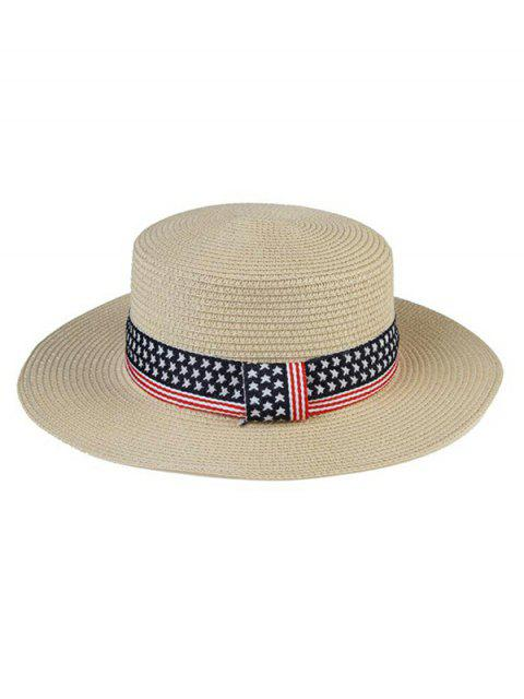 affordable American Flag Pattern Flat Top Hat - WARM WHITE  Mobile