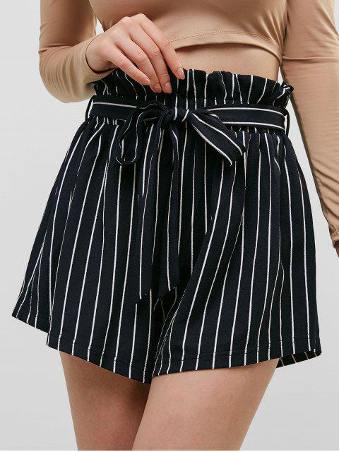 women ZAFUL Striped Belted Loose Paperbag Shorts - MIDNIGHT BLUE S Mobile
