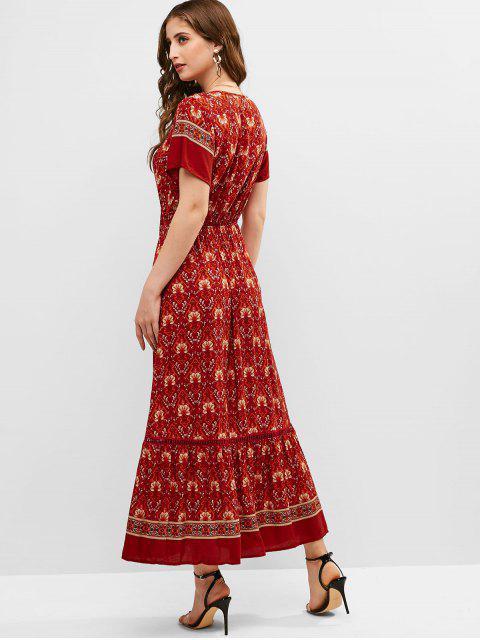 Robe Longue FloraleNouée en Avantà Volants - Rouge M Mobile