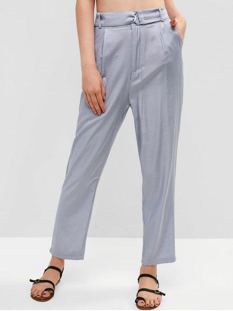 Bolsillos con cinturón de cintura alta pantalones rectos - Gris Azulado S Mobile