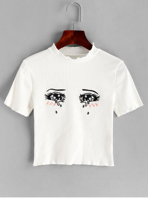 women's Tearful Eyes Embroidered Ribbed Crop Tee - WHITE L Mobile