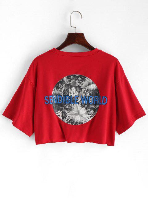 shop Letter Graphic Loose Crop Tee - CHESTNUT RED S Mobile