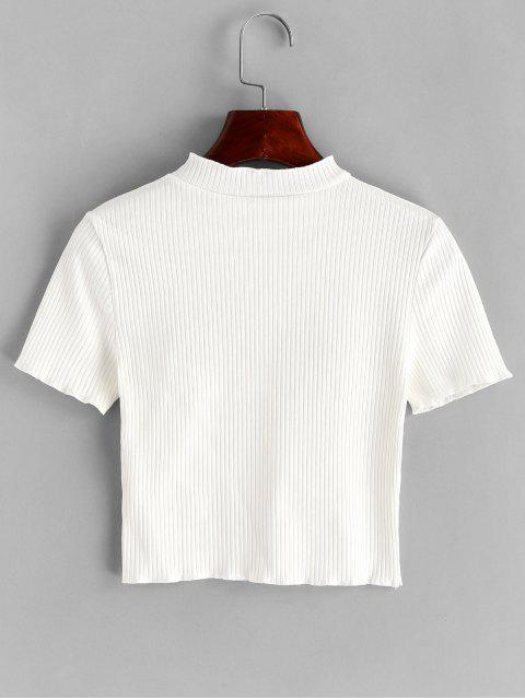fashion Tearful Eyes Embroidered Ribbed Crop Tee - WHITE S Mobile