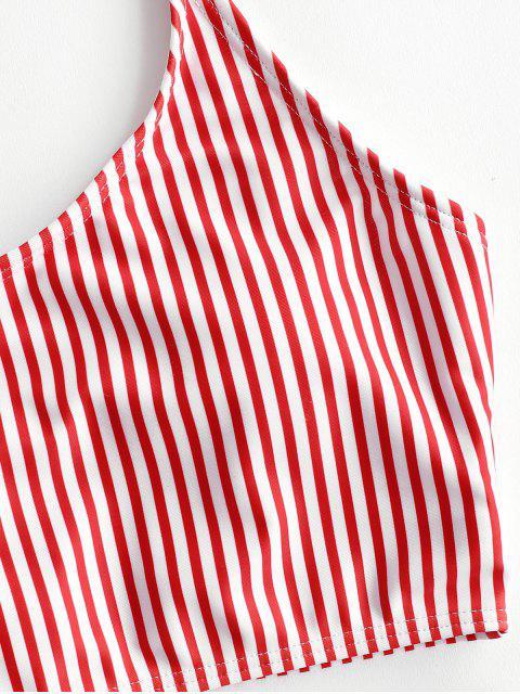 women ZAFUL Striped Lace Up High Waisted Tankini Set - MULTI-B L Mobile
