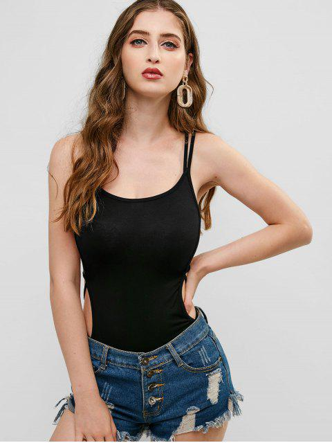 women ZAFUL Criss Cross High Leg Backless Bodysuit - BLACK S Mobile