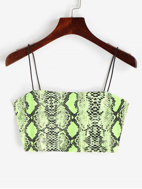 ladies Snakeskin Print Neon Crop Cami Top - MULTI-L S Mobile