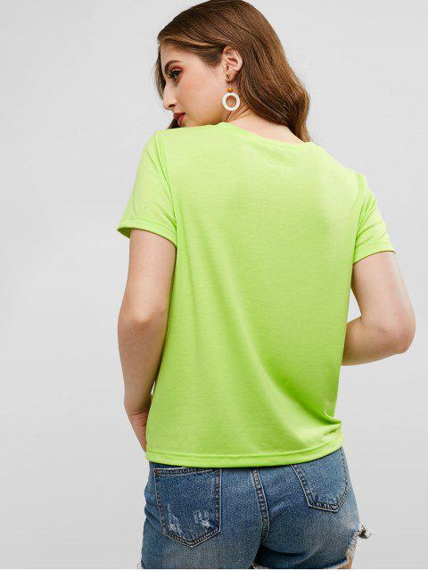 ZAFULジェスチャー グラフィック Tシャツ - ティーグリーン S Mobile