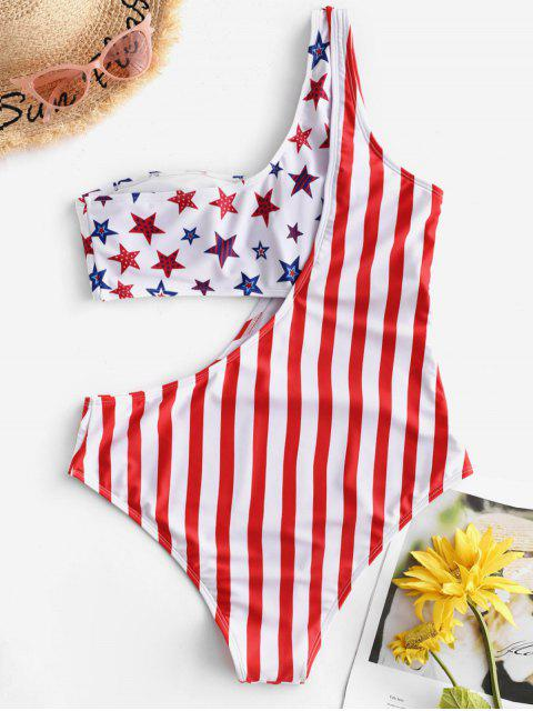 fashion ZAFUL American Flag Cutout One Shoulder One-piece Swimsuit - MULTI-A XL Mobile