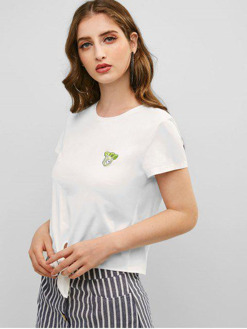 unique ZAFUL Cabbage Embroidered Tie Hem T-shirt - WHITE M Mobile