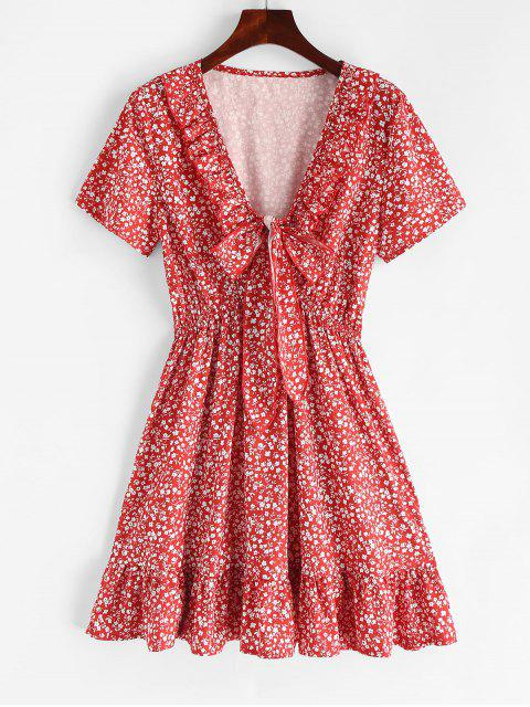 unique Ruffles Knotted Tiny Floral Dress - CHESTNUT RED M Mobile