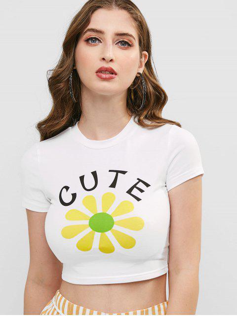 T-shirt Court Fleur Lettre Graphique - Blanc L Mobile